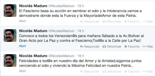 Maduro está utilizando su cuenta de Twitter para transmitir mensajes a los manifestantes.
