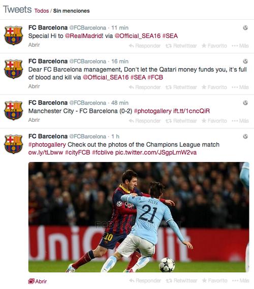 Imagen de la cuenta del FC Barcelona que fue hackeada, tras el juego contra el Manchester City. (Soy502)