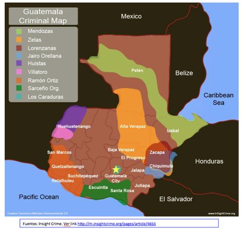 Mapa criminal de Guatemala.