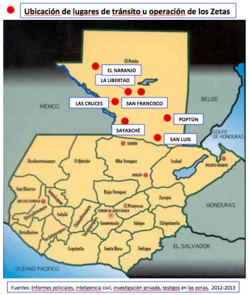 Ubicación de lugares de tránsito u operación de los Zetas.
