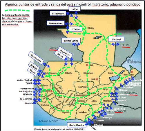 Algunos puntos de entrada y salida del país sin control migratorio, aduanal o policiaco.