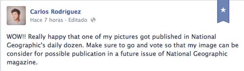 Este es el comentario en inglés que publicó en Facebook Carlos, para celebrar la noticia.