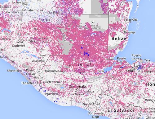 El color rosado, representa la pérdida de árboles en cada país.