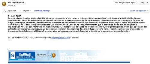 Informe de la Policía Nacional Civil de Mazatenango. (Correo electrónico enviado por el Departamento de Comunicación Social de la PNC)
