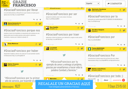 En la imagen se muestran algunos de los mensajes que ya han escrito seguidores del papa Francisco. (Foto:Soy502)
