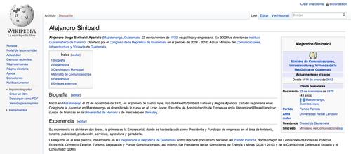 Su biografía en Wikipedia dice lo mismo que la que se encuentra en la página del Ministerio de Comunicaciones, Infraestructura y Vivienda.