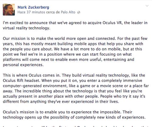 El anuncio hecho esta tarde por Mark Zuckerberg de la compra de la empresa Oculus Rift. (Foto: Mark Zuckerberg/Facebook)