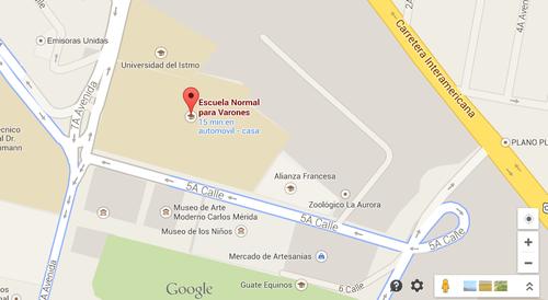 Los estudiantes corren sobre la quinta calle y se enfrentan con agentes de PNC. (Foto:Google maps)