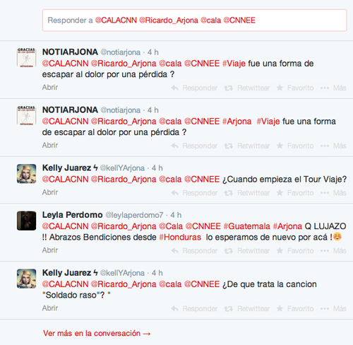 Los internautas realizan preguntas para Arjona en Twitter, a través de CNN y la cuenta de Cala.