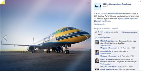 """Las aerolíneas brasileñas """"Azul"""" le rendirán homenaje a Senna, poniendo una frase en alusión a su nombre y su legado. (Foto: Azul Airlines/Facebook)"""