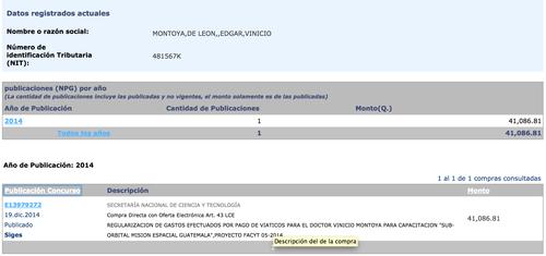 Detalle de Guatecompras en el que se observa el pago de más de 41 mil quetzales para Vinicio Montoya, para una capacitación espacial, la cual no existió.