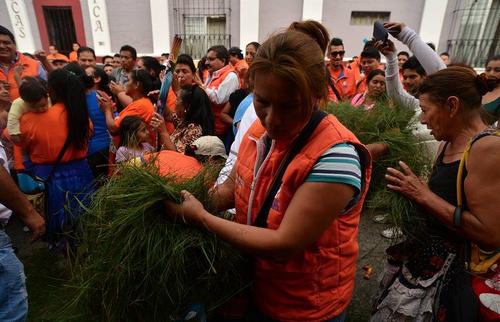 Los simpatizantes del partido Patriota hasta pusieron pino en la calle para recibir a su candidato presidencial. (Foto: Wilder López/Soy502)