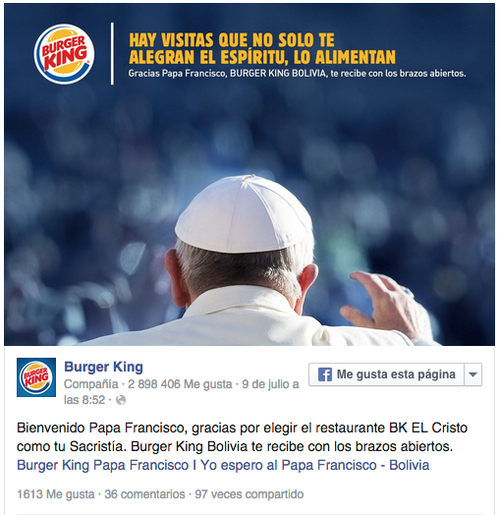 Burguer King de Bolivia publicó esta imagen luego de que el papa Francisco usara sus instalaciones.