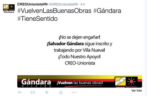 A pesar de que se ha confirmado que Salvador Gándara queda fuera de la contienda, las cuentas de redes sociales de su partido le siguen apoyando.