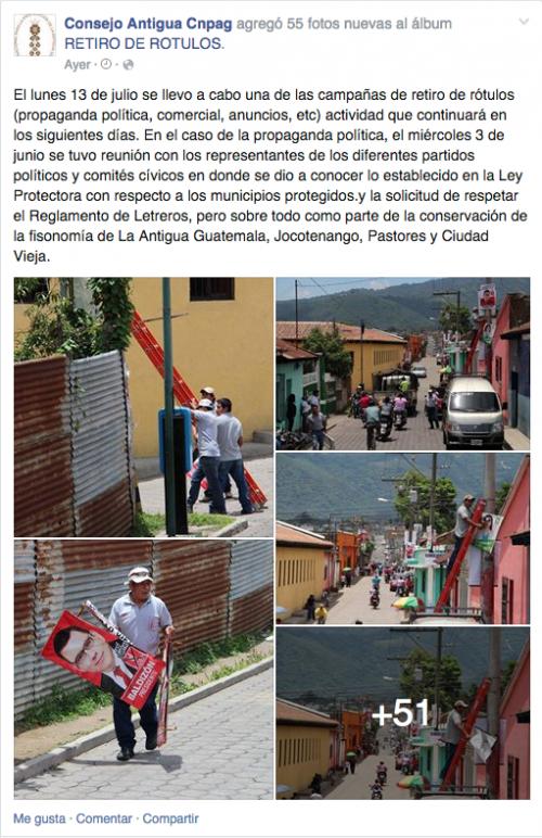 El Consejo Nacional para la Protección de Antigua Guatemala realiza este tipo de actividades al menos una vez por mes.