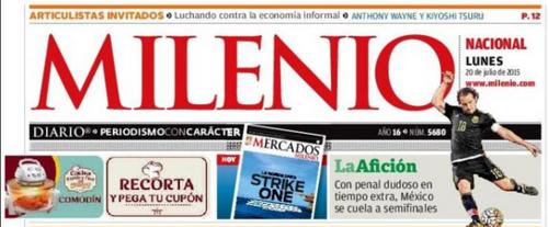 Con un dudoso penal México avanza a semifinales, publica Milenio.  (Foto: Soy502)