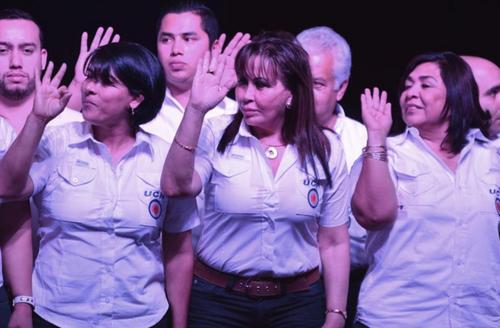 Gloria Torres (centro) militaba en el partido liderado por Mario Estrada. (Foto: Soy502)