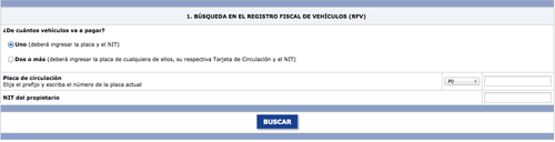En la parte derecha de la pantalla verá donde colocar los datos de su NIT y placa del vehículo.