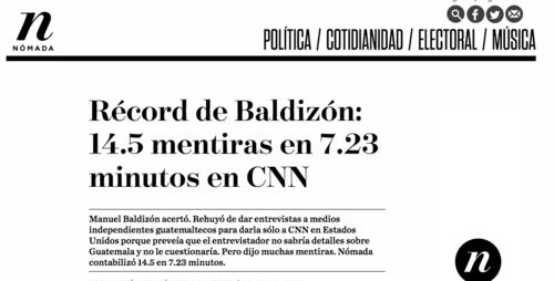 La publicación de Nómada incluye todo un conteo de las mentiras que dijo Baldizón en la entrevista. (Foto: Soy502)