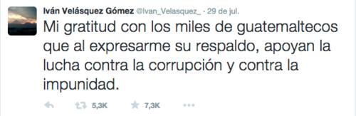 La publicación de Velásquez al concluir la entrevista logró más de 5 mil RT y 7 mil FAV o me gusta.  (Foto: Soy502)
