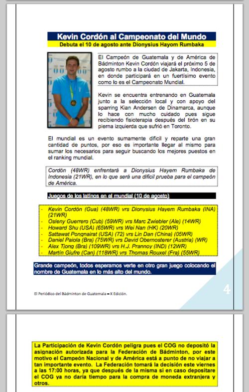 Fragmento de la X Edición del Periódico de Bádminton de Guatemala, que después fue eliminado de la página.