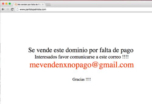 Por no cumplir con el pago la página se vende según informan al ingresar al sitio.  (Foto: Soy502)