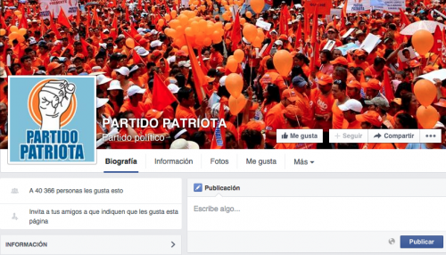 En la red social de Facebook el Partido Patriota si está activo y mantiene su propaganda a favor de Mario David García.  (Foto: Soy502)