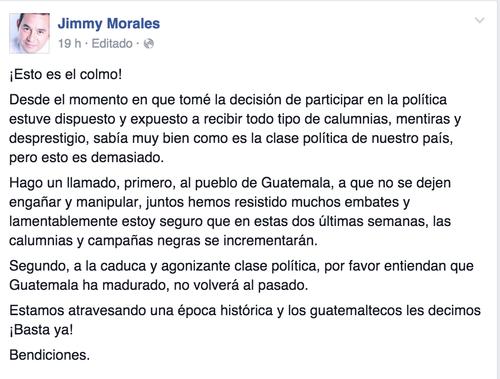 Jimmy Morales negó las acusaciones a través de sus redes sociales.