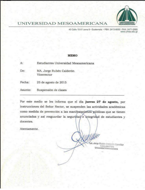 La Universidad Mesoamericana emitió una circular donde suspenden las clases.  (Foto: Twitter)