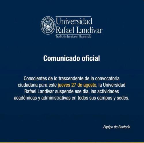 La Universidad Landívar suspendió las clases para participar en la marcha.  (Foto: Landívar)