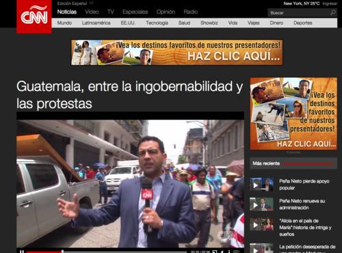 La página web de CNN también hacía referencia a las protestas de la semana que piden la renuncia de Otto Pérez Molina.  (Foto: Soy502)