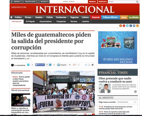 El diario Milenio en México también dedicó unas letras a la crisis en Guatemala.  (Foto: Soy502)