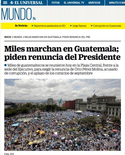 El Universal en México también en su portada de Internacionales daba la nota de Guatemala.  (Foto: Soy502)