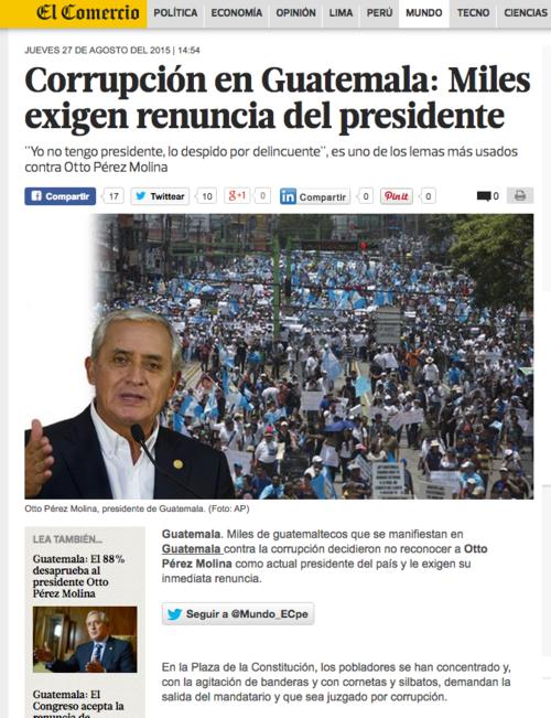 El Diario Digital El Comercio en Perú también tiene una sección dedicada a la crisis en Guatemala.  (Foto: Soy502)