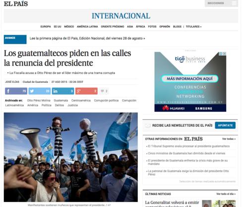 El periódico el país así titula la nota sobre Guatemala.  (Foto: Soy502)