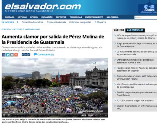 El Diario El Salvador también abrió una sección especial denominada Crisis Guatemala para las publicaciones del país.  (Foto: Soy502)