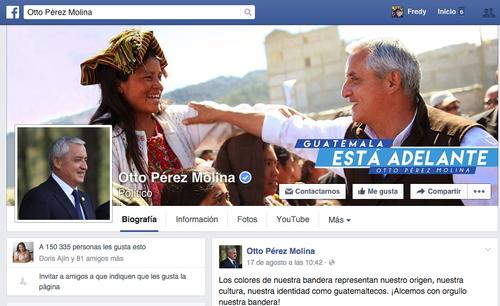 """Los cibernautas se han volcado a quitarle los """"likes"""" a la cuenta de Facebook del presidente Pérez Molina."""