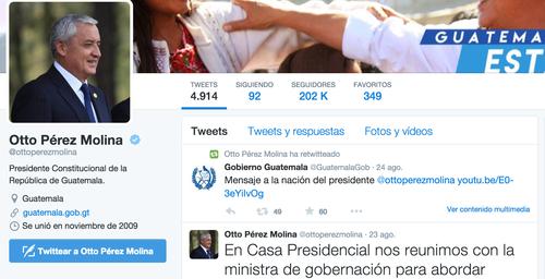 También silencio en Twitter. El presidente Pérez Molina optó por no aparecer en actividades públicas y no usar sus redes sociales.
