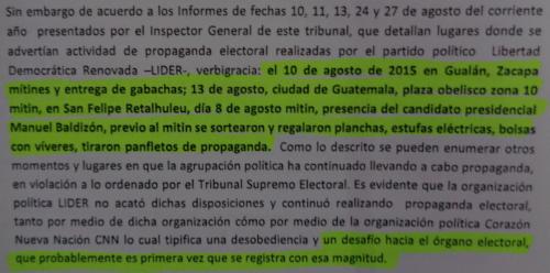Este es parte del voto razonado, de 7 páginas, en el que explica porque considera que cancelar el partido Lider era la sanción que correspondía.