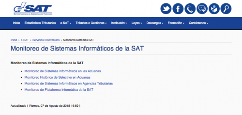 En el portal de la SAT se puede revisar los sistemas y el selectivo de las aduanas.  (Foto: Soy502)