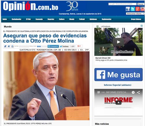 La Opinión de Bolivia también resalta el hecho que marca la historia política de Guatemala.