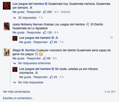 La página ha respondido a los comentarios de agradecimiento de los mismos guatemaltecos.