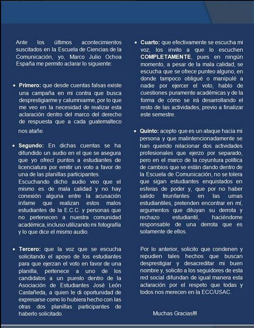 Esta es la respuesta de Ochoa ante las acusaciones de que habría ofrecido mejorar las notas a los estudiantes que votaran por la planilla que el apoyaba en la elección de la Asociación de Estudiantes de la Escuela de Ciencias de la Comunicación.
