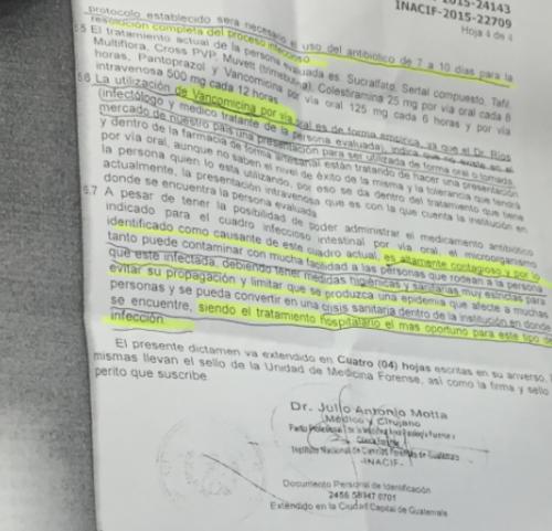 Copia del informe del médico de Inacif, donde menciona que el germen es contagioso.