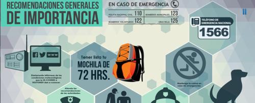 Las primeras recomendaciones de la CONRED en caso de emergencia. (Foto: CONRED)