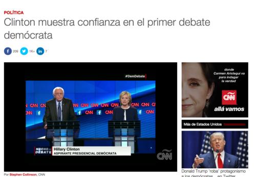 En CNN replican el mensaje de Clinton en varias publicaciones.  (Foto: Soy502)