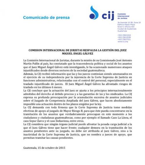 La CIJ emitió un comunicado de prensa para respaldar al Juez Miguel Ángel Gálvez.  (Foto: Soy502)