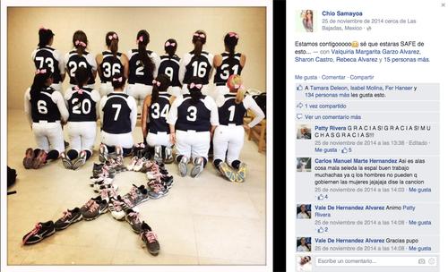 Las seleccionadas de béisbol también tuvieron un lindo gesto con Patty Rivera en su lucha contra el cáncer. (Foto: Patty Rivera)