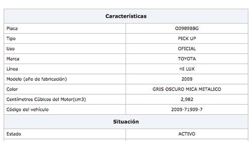 Al ingresar en el portal de la SAT, el número de placa y el número de NIT de la municipalidad de Santa María Visitación, Sololá se confirman los datos del vehículo.