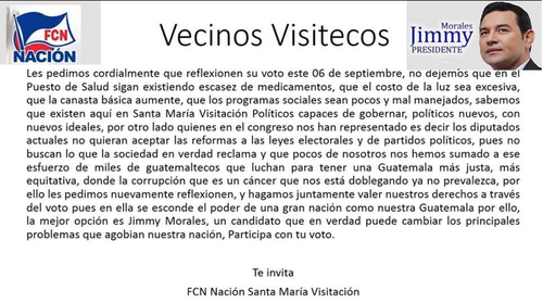 Esto fue publicado por un grupo de profesionales que apoyan a Jimmy Morales en Santa María Visitación, Sololá, municipio desde donde viajó el vehículo con placas oficiales que fue usado para apoyar las actividades logísticas del mitin de Chichicastenango.